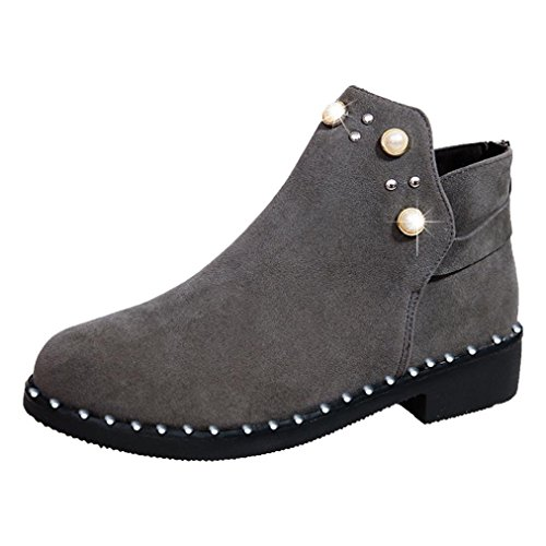 SUKEQ Women Booties, Ladies Flock Pearl Embellished Ankle Boots Back Zipper Round Toe Flat Martin Boots (8 B(M) US, Gray)
