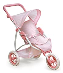 Badger Basket's Folding Three Wheel Doll Jogging Stroller has style from all angles! This three-wheeler is sure to be noticed thanks to the canopy, seat harness, footrest, padded handle, and 3-point seat harness. The three fixed (non-swivel) ...