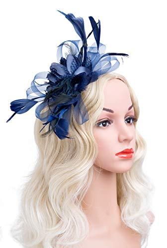 Cizoe Cizoe Flower Cocktail Tea Party Headwear Feather Fascinators Top Hat for Girls and Women(3-navy) ()