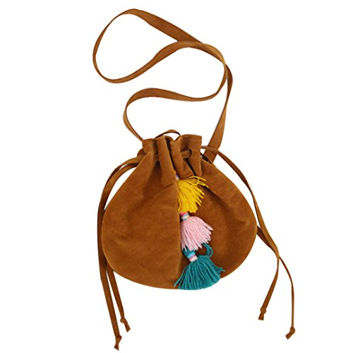 Brown Suede Fringe Crossbody Bag - 8