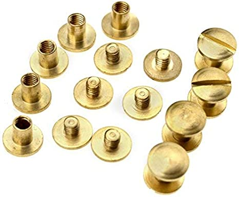 6 mm Ensemble de 10/rivets /à vis 4//6//8/mm x 4,5/mm en laiton pour l/'artisanat du cuir