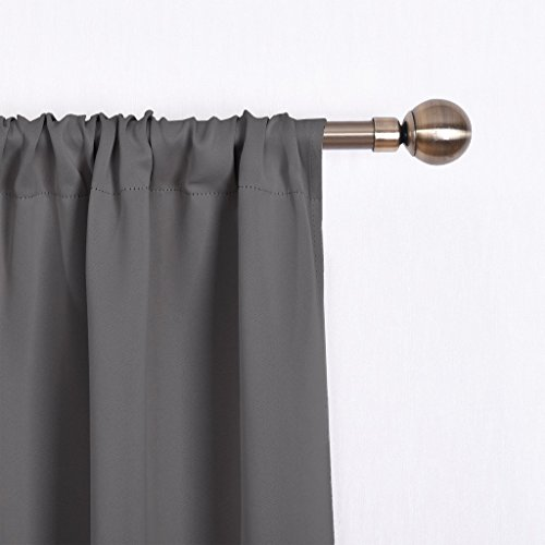 NICETOWN Thermal Insulated Blackout Curtain - Grey Tie Up Shade for Small Window, Window Valance Balloon Blind (Rod Pocket Panel, 46'' W x 63'' L) by NICETOWN (Image #3)'