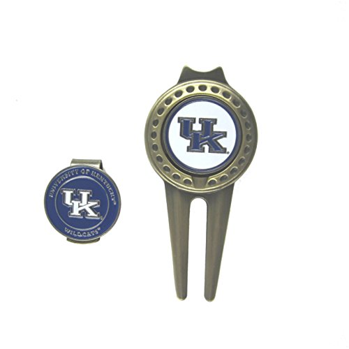 Kentucky Wildcats Hat Clip & Divot Tool with Double-sided Golf Ball Markers Combo (Kentucky Wildcats Hat Clip)