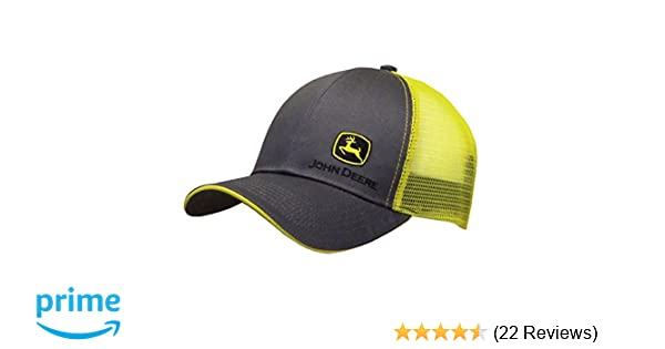 John Deere Grey with Yellow Mesh Backing Snapback Hat - 13080428CH00 at Amazon Mens Clothing store:
