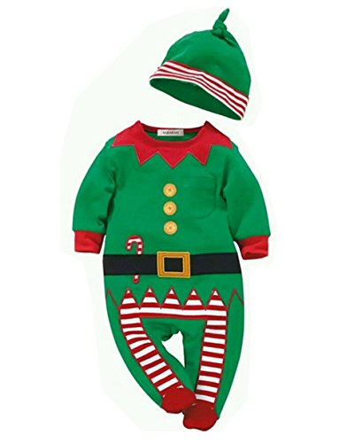 StylesILove Unisex Baby Holiday Elf Long-Sleeved Costume Romper (3-6 Months) (Elf Costumes For Babies)