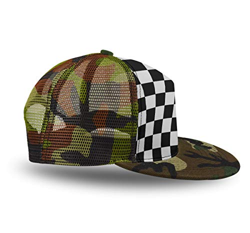 YongColer Dad Hat Trucker Hat, Race Waving Checkered Flag, Classic Polo Style Adjustable Men Women Baseball Cap for Hiking Running Camping