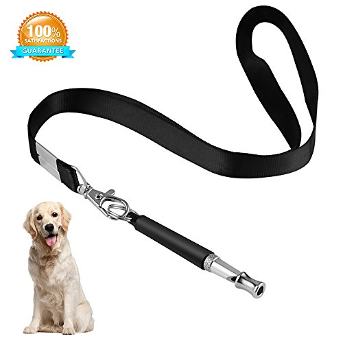 Airsspu Dog Whistle to Stop Barking - Ultrasonic Patrol Sound Repellent Repeller - Adjustable Pitch in Black Color with FREE Premium Quality Lanyard Strap