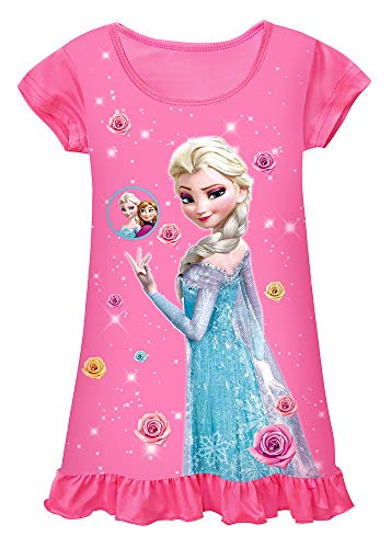 WNQY Toddler Night Gown Little Girls Princess Pajamas Dress (120/4-5Y,Rose 3)