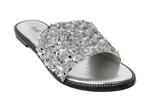 Stone Bling - H2K Womens Glitter Bling Jewel Stone Fancy Slide Flat Low Wedge Sandals Shoes Dream (9 B(M) US, Silver)