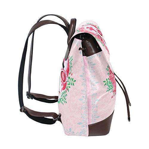 School Travel Women's Purse Skulls Shoulder Backpack Bag Lady Pink Leather Flower Skull nqff46w0