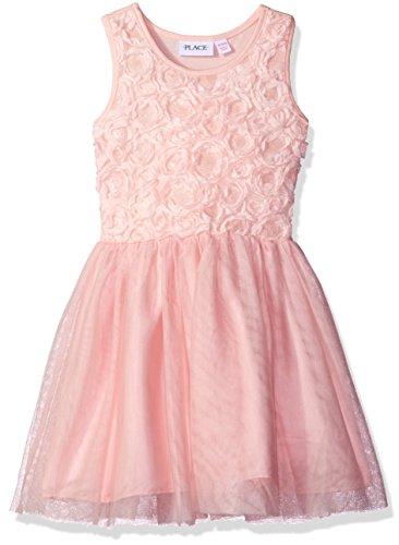 The Children's Place Big Girls' Sleeveless Dressy Dresses, Pink 6202, M (7/8) (Rosette Sleeveless)