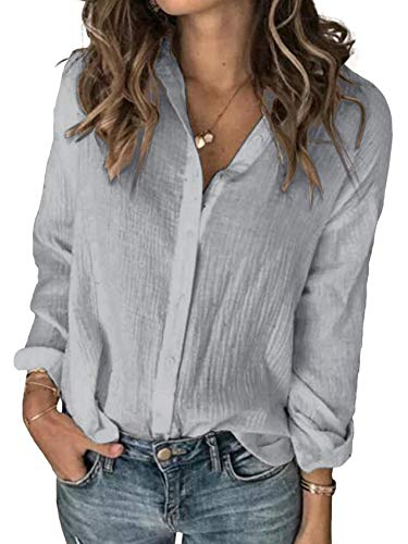 Karlywindow Womens Long Sleeve Button Down Cotton Linen Shirt Blouse Loose Fit Casual V-Neck Tops Grey