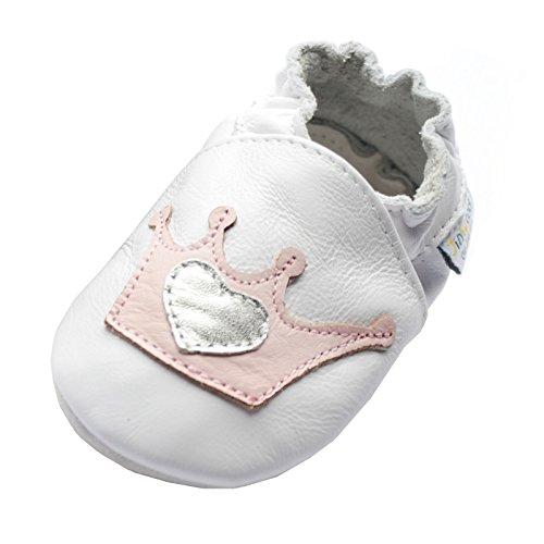 Jinwood designed by amsomo 12 Verschiedene Modelle - Hausschuhe - Echt Leder - Lederpuschen - Krabbelschuhe - Mädchen - Jungen - Soft Sole/Mini Shoes DIV. Groeßen 17/19-35/36 crown white soft sole