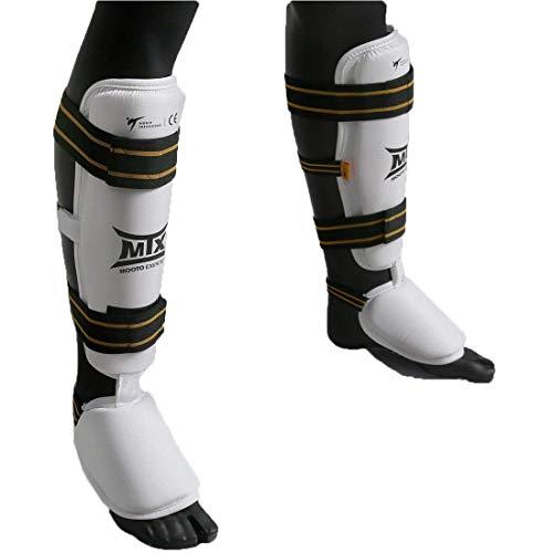 Mooto MTX Taekwondo Shin&Instep Protectors White XS to XL (S(43cm or 16.9