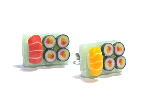 Blue Platter Sushi Stud Earrings - Tiny Food Jewelry