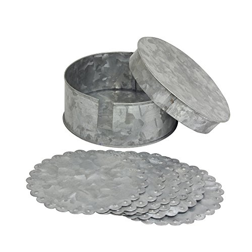 Stonebriar Farmhouse Set of 6 Round Coasters and Container, Silver ()