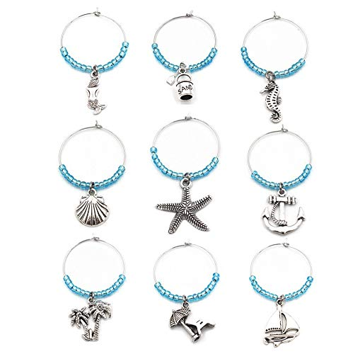 Beach Wine Glass Charm Ring Set(9pcs/set) Marine Theme Drink Markers,Gift For Wine Lover ()