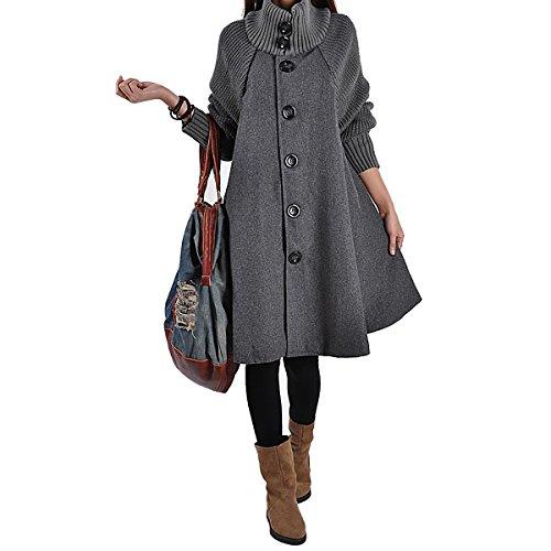 SG Women Splicing Sweater Patchwork Wool Blend Cloak Single Breasted Swing Pea (Blend Swing Coat)