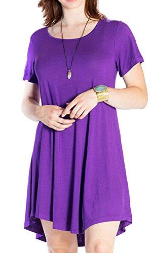 JollieLovin Women's Tunic Casual Short Sleeve Swing Loose T-Shirt Dress (Deep Purple, 2X)