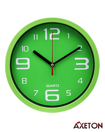 Axeton Silent Non Ticking Decorative Modern Wall Clock, 7 Inches, Green styled, AA Battery Operated