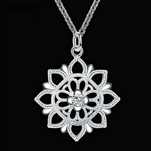 1pc Retro Women Chrome Faceplate Gilt Lotus-Shaped Crystal Pendant Necklace DU8A