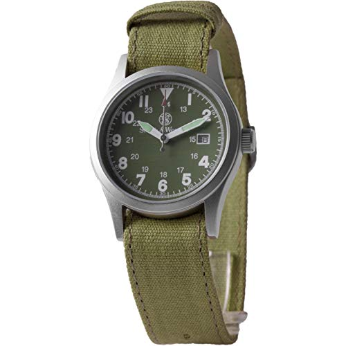Smith & Wesson Men's SWW-1464-OD Military Silver-Tone Watch with Interchangeable Canvas ()