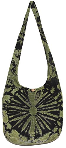 TIE DYE Crossbody Bohemian Shoulder Bag Hobo Purse Big 39'' (GreenBlack) by All Best Thing