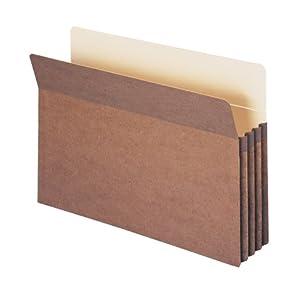 "Smead File Pocket, Straight-Cut Tab, 3-1/2"" Expansion, Legal Size, Redrope, 25 per Box (74224)"