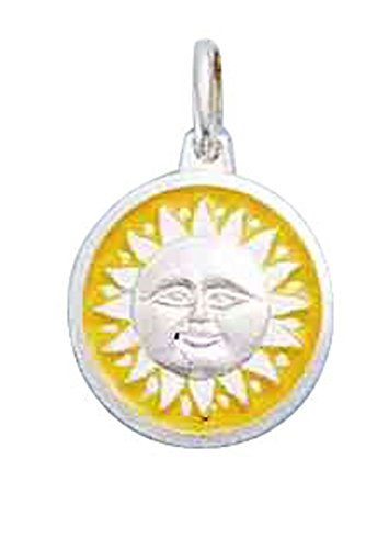 Sterling Silver Sun Disk Yellow Enameled Edge Charm