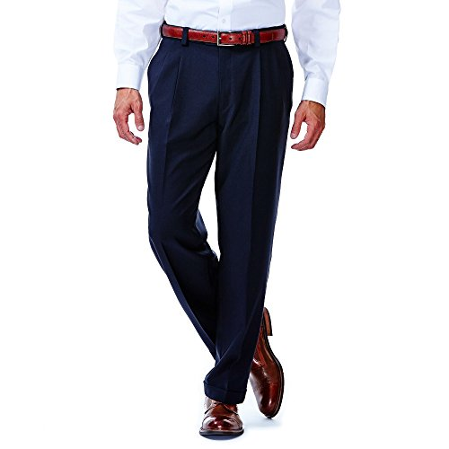 Haggar HD00219 Mens Eclo Stria Dress Pant, (Cuffed Dress Pants)