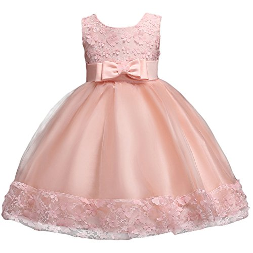 Baby Girl Short Lace Flower Princess Wedding Party Pageant Birthday Tutu Dress Evening Baptism Christening Gowns(12M-10T) Coral Pink 12 Months