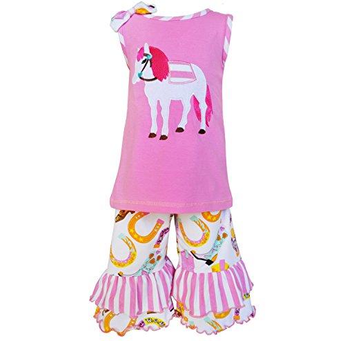 AnnLoren Big Girls Pink Pony Boot Stripe Print Ruffle Capri Outfit 9/10