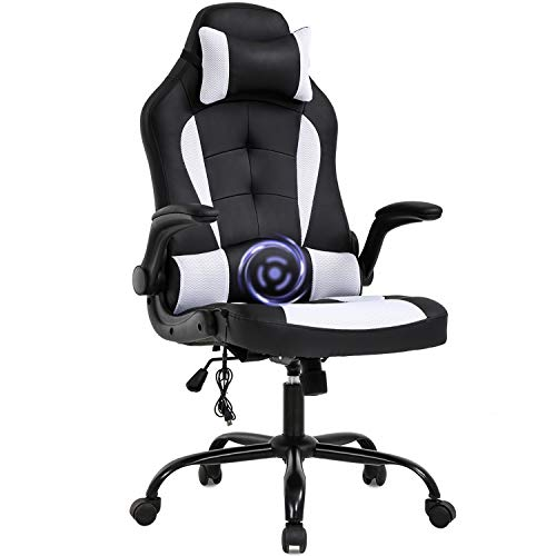 PC Gaming Chair Massage Office Chair Ergonomic Desk Chair Racing Executive PU Leather Computer Chair with Lumbar Support Headrest Armrest Task Rolling Swivel Chair for Women Adults, White