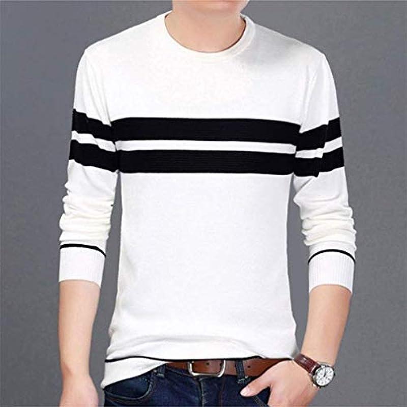 HaiDean męski casual długi rękaw sweter Crew Neck paski Knit sweter Modernas swobodna bluza wiosna jesień sweter dziergany: Odzież