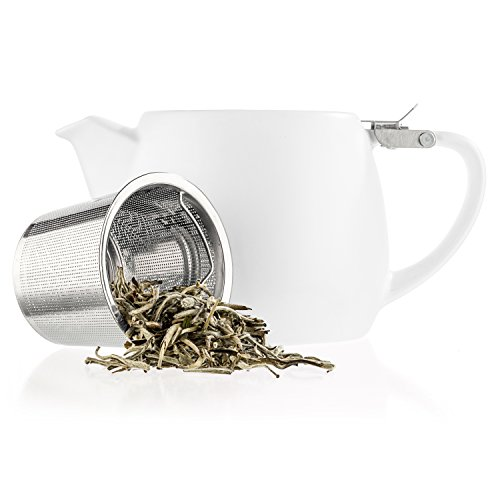 Tealyra - Pluto Porcelain Small Teapot White - 18.2-ounce (1-2 cups) - Stainless Steel Lid and Extra-Fine Infuser To Brew Loose Leaf Tea - Ceramic Tea Brewer - (Brews Teapot)