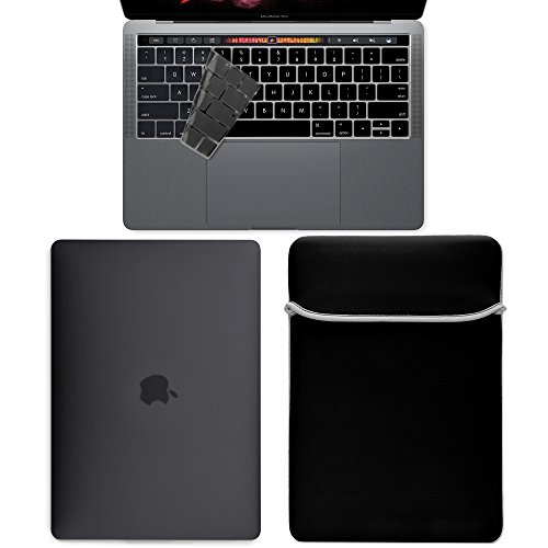 GMYLE 3 in 1 Bundle Black Set Water Repellent Lycra Sleeve & Plastic Hard Case with Keyboard Cover for New Macbook Pro 13 inch With/Without Touch Bar (A1706/A1708,2016-17 Release) Hard Case Sleeve