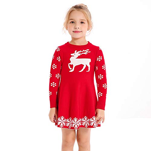 SMILING PINKER Little Girls Christmas Dress Reindeer Snowflake Xmas Gifts Winter Knit Sweater Dresses (5-6, red)