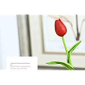 10PCS/LOT high quality PU Stunning Holland mini tulip flower real touch wedding flower artificial flowers silk plants for room home hotel party Event christmas gift decoration multi-color (red) 2
