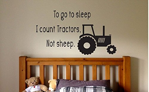 Susie85Electra To Go The Sleep I Count Tractors Quote Sign Vinyl Decal Sticker Wall Kids Hunt Fish Deer Woods Farmer Farm Book Reading Kid Bedroom Decor