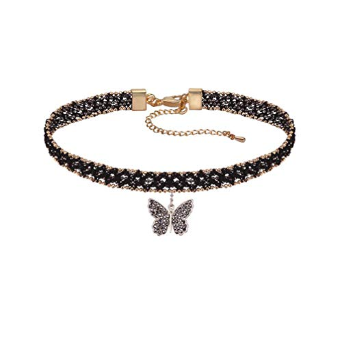 DORAFO Chokers Necklace for Women Lace Choker for Girls with Butterfly Pendant Charm Jewelry (9)