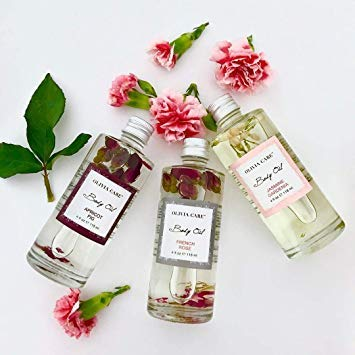 OLIVIA CARE Body Oils, Flavors: Apricot Fig, French Rose, Jasmine Gardenia -All Natural Perfume Fragrance & Body Oil Moisturizer, Rich in Vitamin E, K, Omega fatty Acids (3 Scents (1 Of Each))
