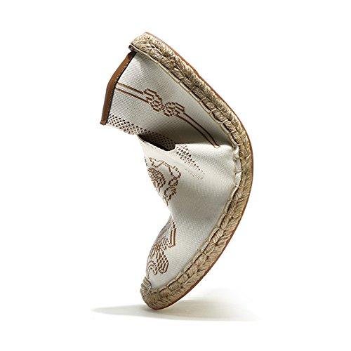 Uomo Tela Espadrillas Traspirante Cinese Sole Basse Scarpe la Mano Lino Cucire Casual con Stile Comfort White Scarpe xFF5TqYw