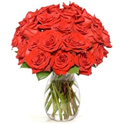 Benchmark Bouquets 2 Dozen Red Roses, for Valentine's Day With Vase