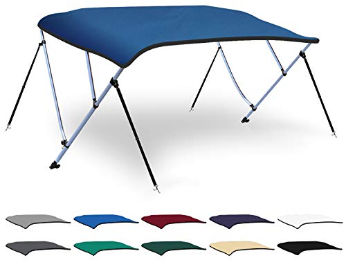 (XGEAR 3 Bow Bimini Top Boat Cover with 4 Straps, Mounting Hardwares and Storage Boot, Full Size in Color Grey, Pacific, Navy, Black, Beige, Green, White (Pacific Blue, 3 Bow: 6'L x 46
