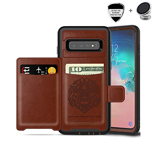 (Galaxy S10e Case, Sumsung S10e Wallet Card Slots Holders Kickstand Flip Cover Bumper PU Leather TPU Rubber Hard PC Frame Magnetic Slim Shockproof Durable Shockproof Protective Case Cover (Brown))
