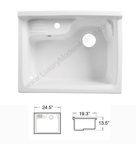 sink ALEXANDER 24'' WHITE Utility Sink - Modern Mop Slop Tub Deep Sink Ceramic Laundry Room Vanity Cabinet Contemporary Hardwood Hard by www.LuxuryModernHome.com (Image #4)