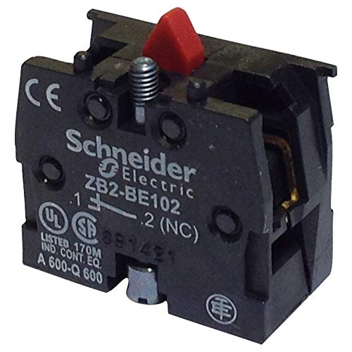 (Telemecanique ZB2BE102 Pushbutton+Selector Switch Contact Block, Type: XB2, Size: 22mm, 10A, 600V NC)