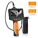 Teslong Professional Endoscope, Upgrade 4.3in. Screen 720P HD Industrial Borescope with 5.5mm Inspection Camera, Waterproof Semi-Rigid Cable, 6 LED, 2600mAh Battery, Hard Case