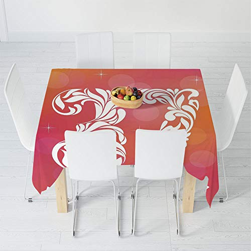 TecBillion Polyester Tablecloth,37th Birthday Decorations,for Wedding Banquet Restaurant,23.6 X 23.6 Inch,Middle Age Celebration with Classic Swirl Floral (Floral Swirls Iphone)