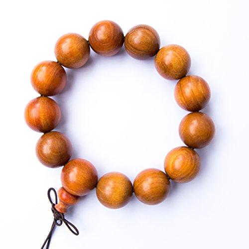 (Tucanox Natural Dragon Blood Wood Round Rosary Bead Stretch Bracelet - 108 Japa Mala Beads Tibetan Buddhist Prayer Chain Necklace for Men & Women - 18mm (13 beads))